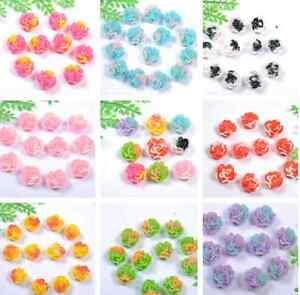 Free-Ship-30pcs-fashion-Resin-Flower-Flatback-Cabochons-11X7MM-9-Colors