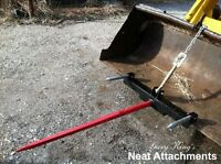 Hay Bale Spear Attachment For Front Loader & Skid Steer Bucket With 39 Prong