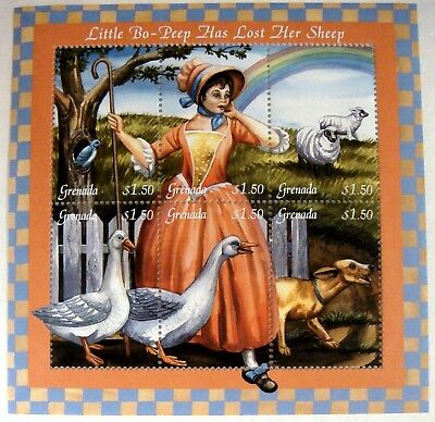 2001 MNH GRENADA LITTLE BO-PEEP STAMP SHEETS HAS LOST HER SHEEP FAIRYTALE STAMPS