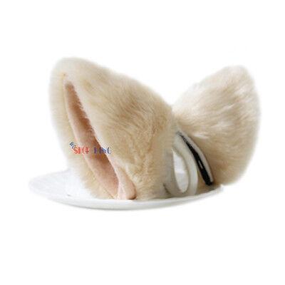 Long Fur Fox Cat Ear Hair Clip Lolita Party Anime Neko Cosplay Halloween Costume