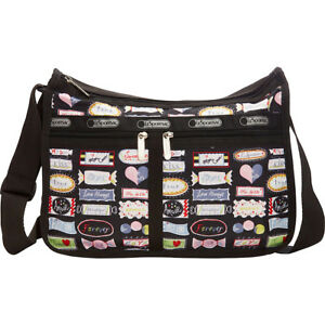 Details About Lesportsac 7507 Deluxe Everyday Bag Sweet Talk Black With Pouch Nwt Valentine