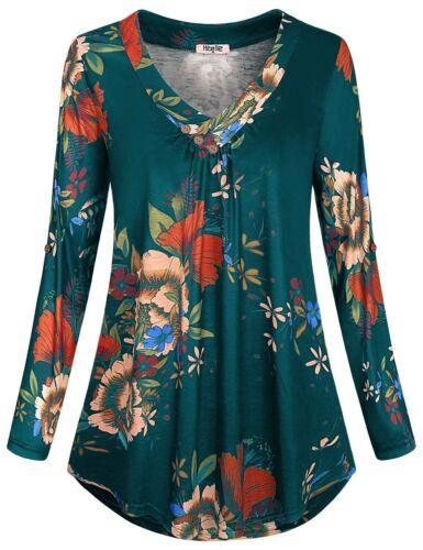 Plus Size Womens Floral V Neck Baggy Blouse Ladies Long Sleeve Tops T-Shirt UK