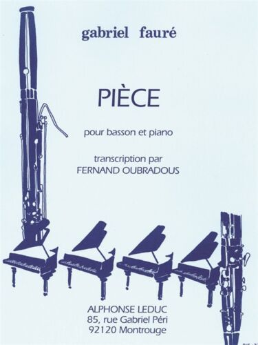 Gabriel Fauré Pièce Bassoon Piano Romantic Bassoon Learn to Play MUSIC BOOK