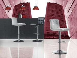 Sgabello soggiorno ufficio bar cucina ecopelle metallo cromato alto