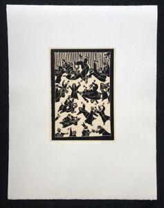 Blalla W. Hall Uomo, protestanti destineranno, linolschnitt, 1986, firmato a mano