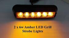 2x Flashing Amber Breakdown 12v 24v Recovery Strobe Orange Grille 6 led Lights