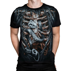 Wild-Star-Herzen-Knochen-Kaefig-Herren-T-Shirt-Gotik-Biker-Rock-Metall