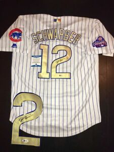 quality design b969f e9db7 Details about Kyle Schwarber Hand Signed Gold Championship Chicago Cubs  Jersey BECKETT Cert