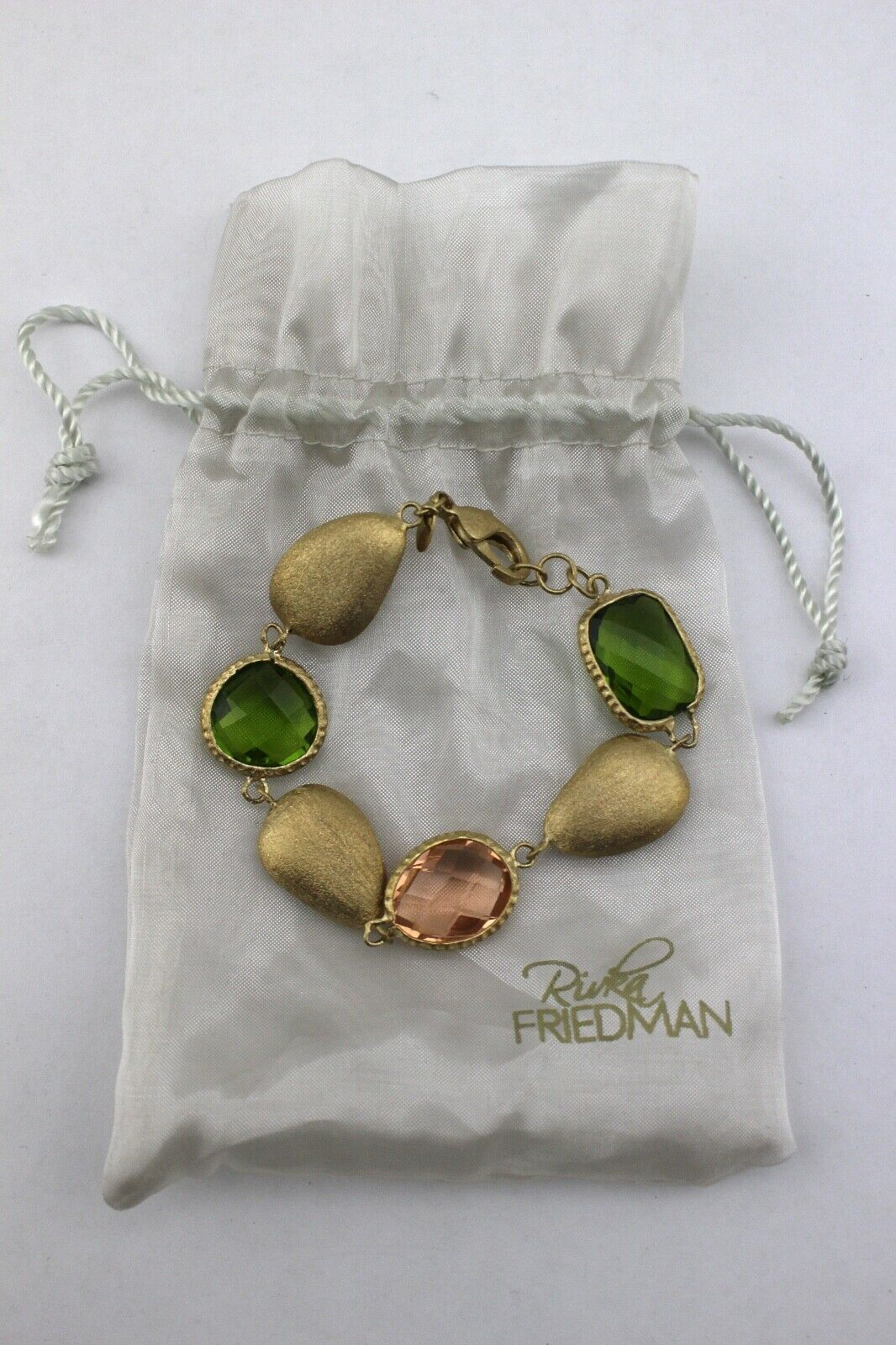 RIVKA FRIEDMAN 18K gold Clad Tone Faceted Green Peridot Pink Bracelet New Signed