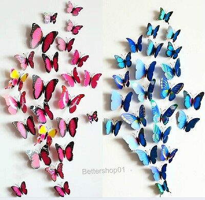 3D Butterfly Art Design Decal Wall Stickers For Home Decor Room Decorations