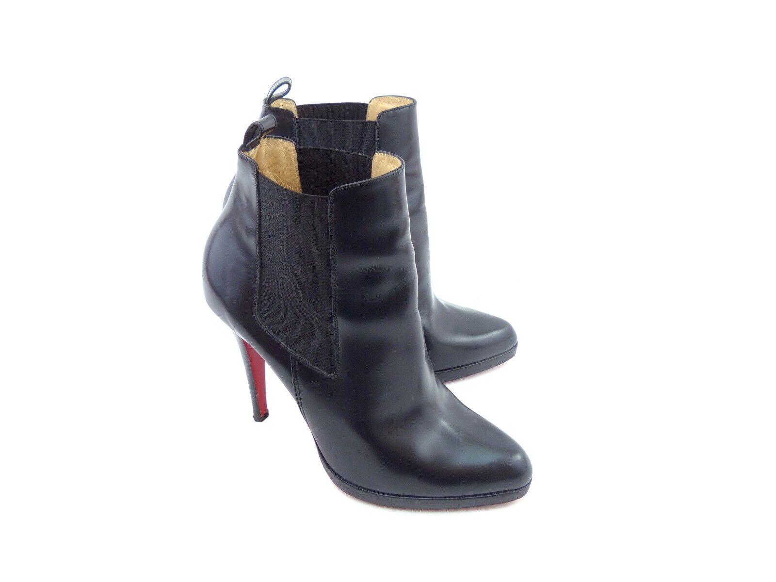 Descuento de liquidación Christian Louboutin 'Bang Bang' Eden Black Leather Ankle Boots [ 55% OFF  ]