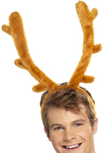 Mens Brown Stag Night Stag Horns Hairband Headband Stag Do Fancy Dress Costume