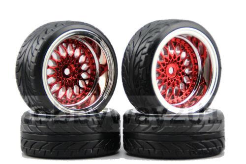 1//10 Rc Drift Car Wheels /& Tires Set For Yokomo Mst Sakura Tamiya Hpi 9mm Offset