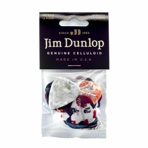 Jim Dunlop PVP107 Celluloid Heavy Guitar Pick Variety 12 Pack