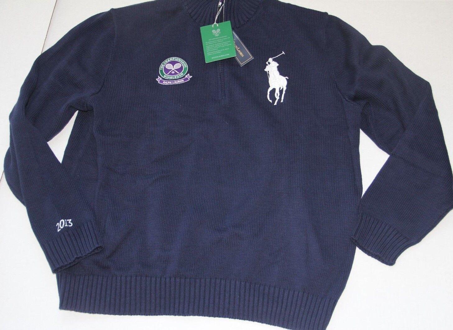 Ralph Lauren Polo Navy BLue Big Pony Wimbildon 2013 Half Zip Sweater XLarge  XL