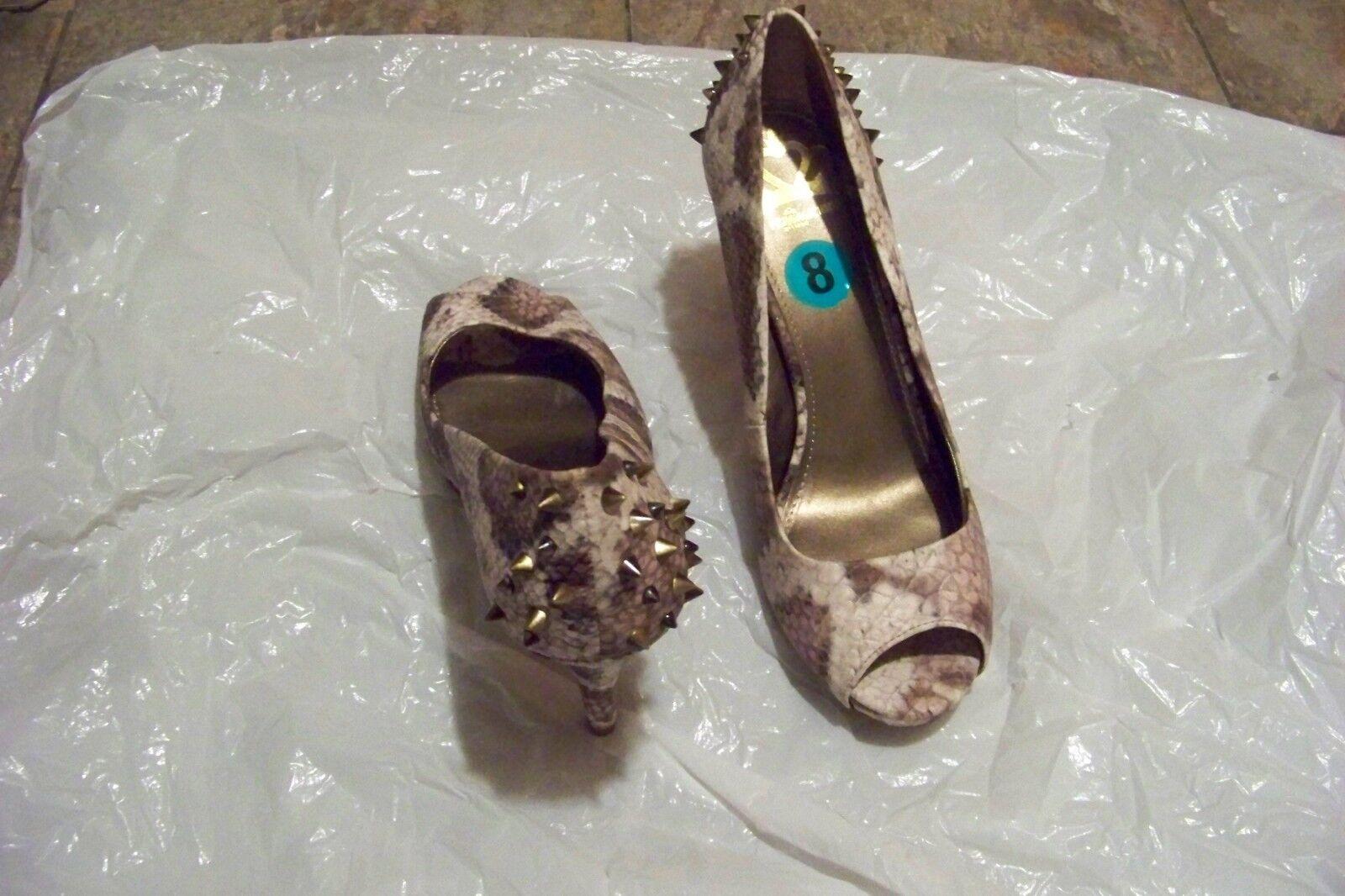 womens fergalicious studded grudge brown skin print open toe studded fergalicious heels shoes 8 7c12bd