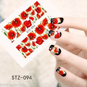 Nail-Art-Water-Decals-Full-Wraps-Remembrance-Poppy-Armistice-Day-Flowers-stz94