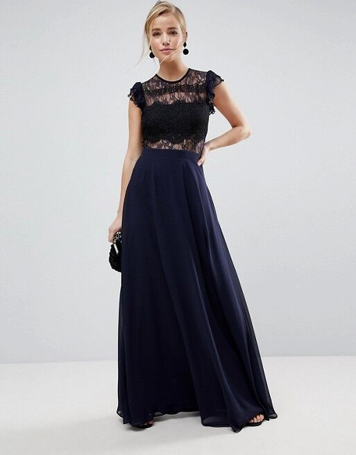 Lace Maxi Dress with Lace Frill Sleeve Navy