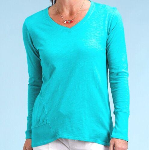 FRESH PRODUCE Large Luna Blue EMILY Cotton Slub V Neck Top $65 NWT New L