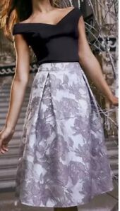 New-Lipsy-Size-8-Uk-Silver-Grey-Embroidered-Jacquard-Prom-Skirt