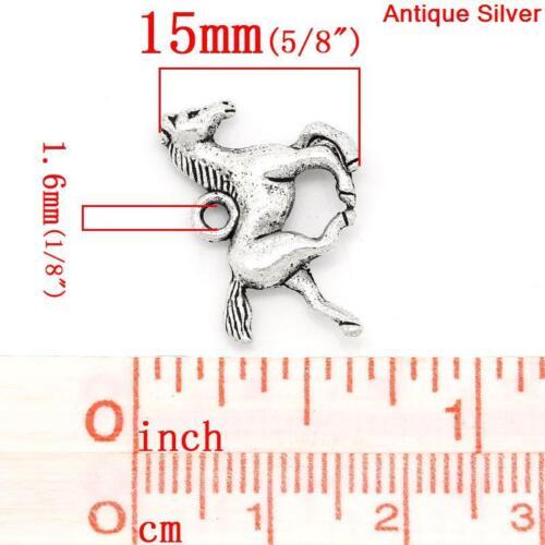 10 Dijes Caballo De Plata Antigua 3D//Colgantes 19mm ~ Pulsera ~ Llavero Collar ~ 58G