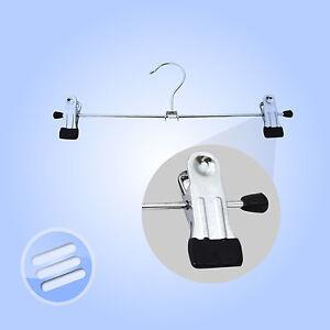 3-x-039-30cm-039-High-Quality-Non-Slip-Metal-Clip-Skirt-Trouser-Clothes-Peg-Hanger