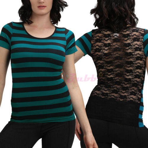 Women Stripe Tops Floral Lace Back T-Shirt Slim Fit Mesh Tee Shirt Short Sleeves