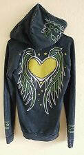 Sinful by Affliction Cute Black Multi-Color LS Pullover Hoodie Jacket Women's M