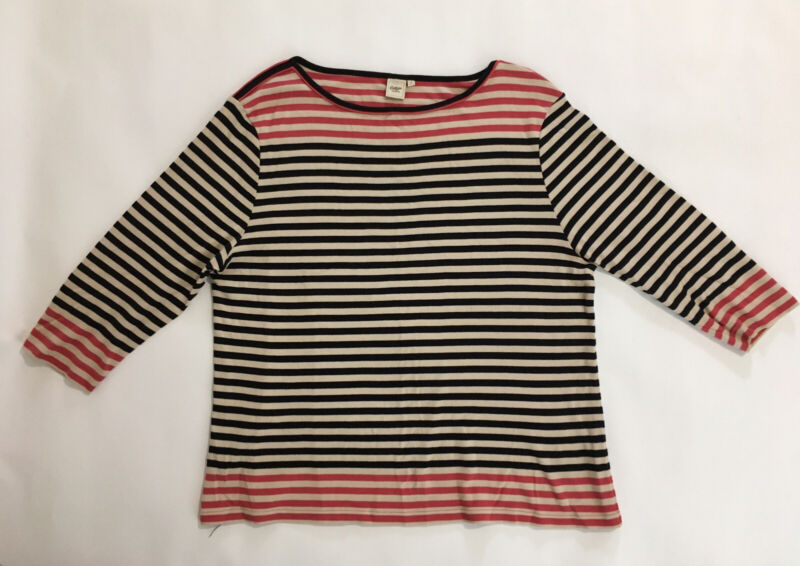Good Ladies Cotton Traders 3/4 Sleeve 100% Cotton Jersey Top Uk22 Red Black Striped