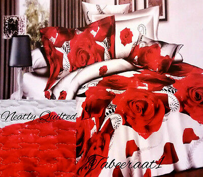 3D QUILTED BEDSPREAD + 2 PILLOWCASES COVERLET REVERSIBLE COMFORTER 3PCS SET
