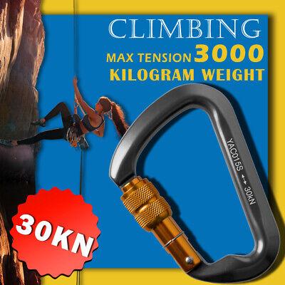 Outdoor D-Shape Aluminum Steel Rock Climbing Hiking Screw Locking Carabiner 30KN
