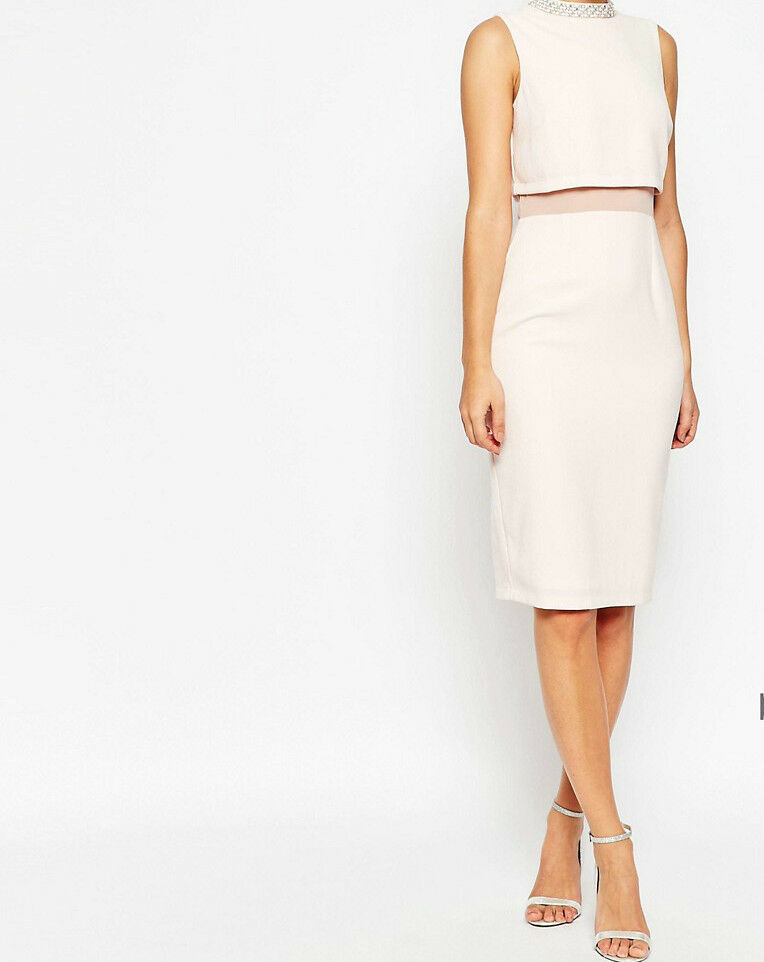 Branded PETITE Crop Top Embellished Collar Stand Midi Dress   US 4