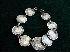 Antique sterling silver coin bracelet