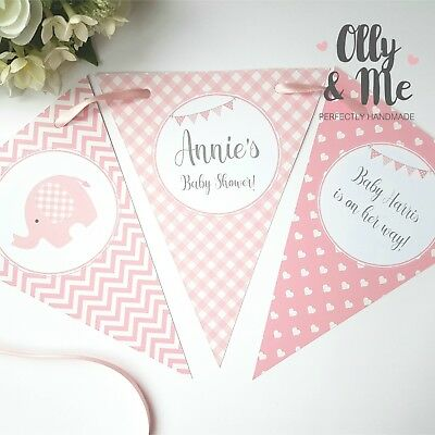 Cute Elephants Girl Pink Personalised Baby Shower Bunting Banner Garland