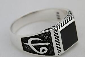 Turkish-Jewelry-Ottoman-Symbol-Black-Onyx-925-Sterling-Silver-Men-039-s-Ring-Size-11