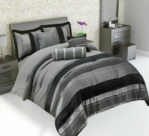 Luxury 7 Pcs Comforter Quilted Bedspread Complete Bedding Set Cushion Cover
