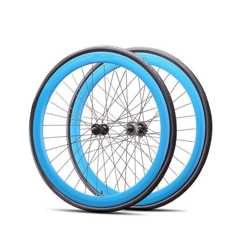 Fixie 700c Deep 45 mmFixed  Front & Rear Wheels set w Tire Tube blueee