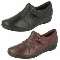 Ladies Clarks Everlay Coda Black Or Burgundy Leather Casual Trouser Shoes