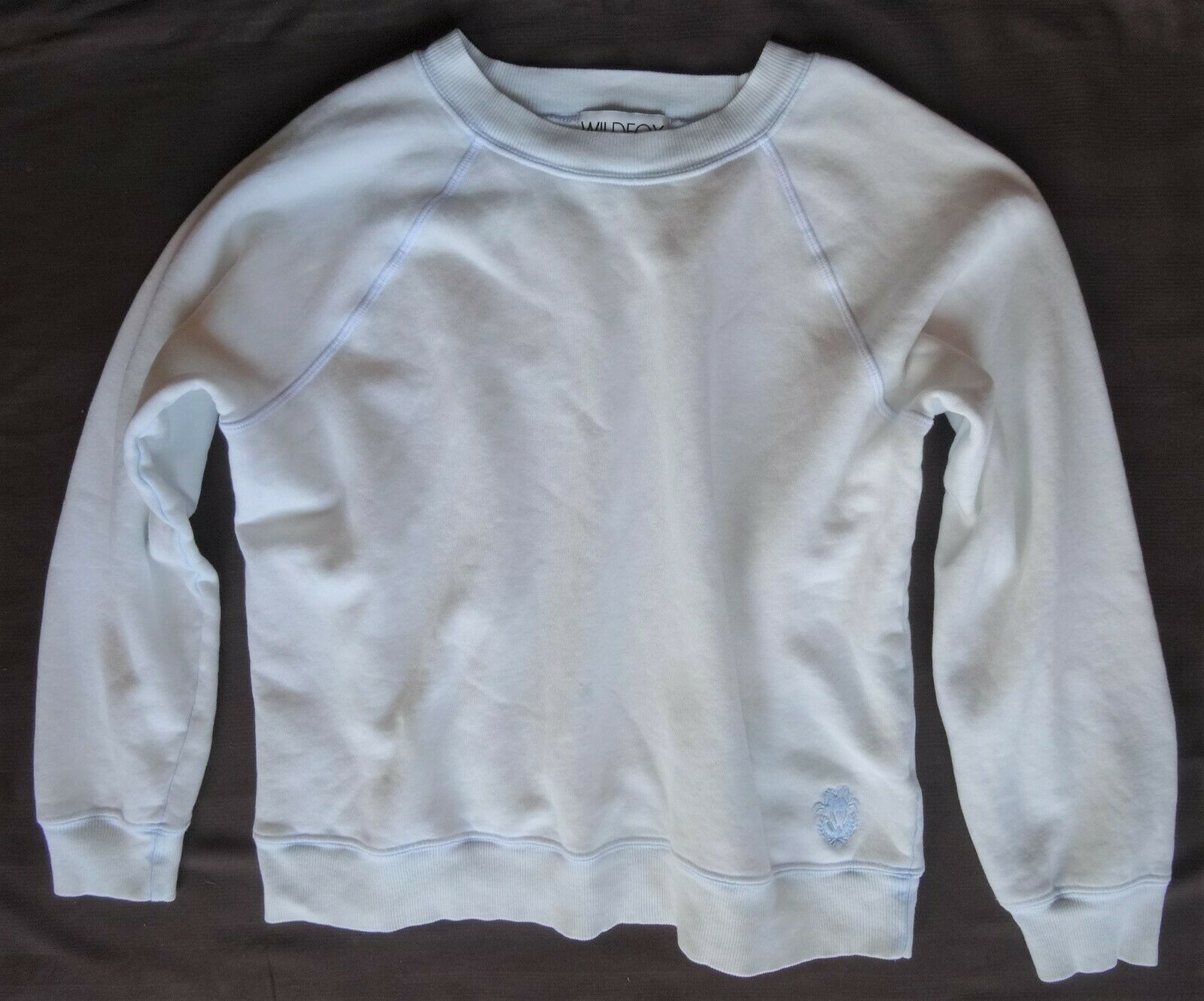 Wildfox Glacier White bluee Bleached Out Sweatshirt Fleece XS Baggy Over sized