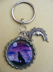 WOLF KEY RING TIBETAN SILVER CHARM GIFT IDEA WOLVES HOWLING WILD ANIMAL NEW