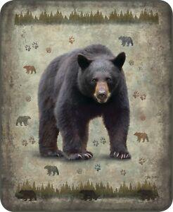 Queen-Native-Black-Bear-Print-Aztek-Plush-Mink-Faux-Fur-Blanket-Super-Soft-Full