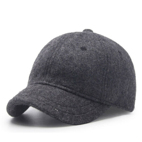 Short Visor Woolen Feel Baseball Cap Men Winter Wool Felt Dad Hats