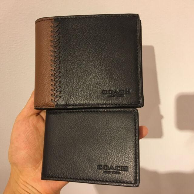 97cdd698f6e7a Coach F75170 Baseball Stitch Leather Compact ID 3 in 1 Wallet Saddle Black