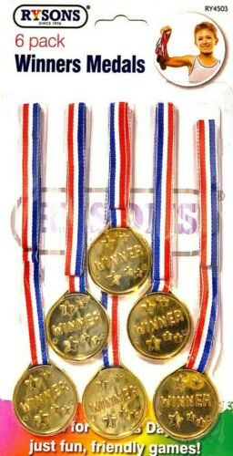 Details about  /12 Pcs Kids Plastic Gold Medals Winners Sports Day Games Award Prize Party Toys