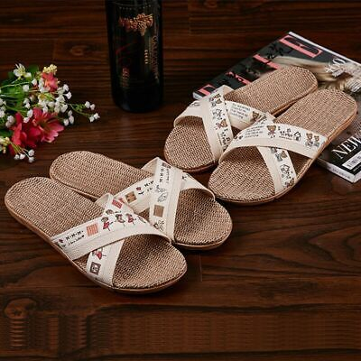 Men Women Flax Tatami Slippers Comfy Open Toe Home Couple Slip On Flat Shoes