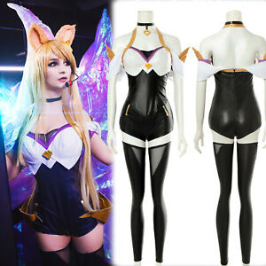 LOL League of Legends KDA Ahri Leather Bodysuit Cosplay Wig Costume Full Suit