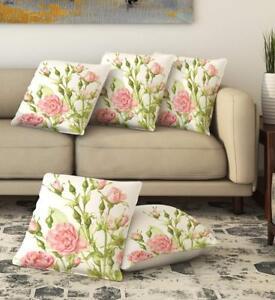 """16"""" X 16"""" Cotton Cushion Covers Decorative Floral Pillow Case Lot of 5 Pcs"""