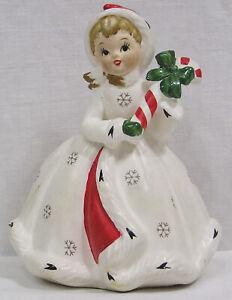 Vintage NAPCO Christmas Shopper Lady Planter Holds Candy Cane 1960s X8390 Japan
