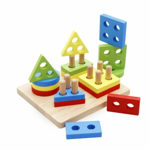 Wooden Shapes Blocks Toy Puzzle Shape Sorter Educational Baby Girls Boy Toddler