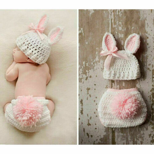Newborn Infant Baby Crochet Knit Photo Photography Costume Prop Outfit Bunny HOT